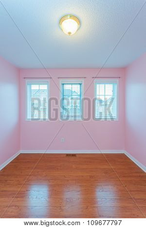Empty Bedroom in pink color