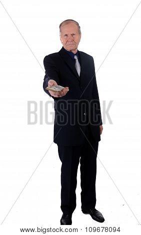 Businessman Holding Money. Banking loan, cash,money concept