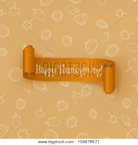 Realistic curved orange Thanksgiving Ribbon