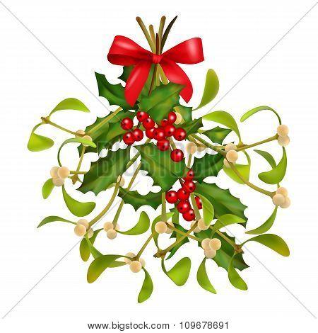 Christmas Mistletoe and Holly bouquet