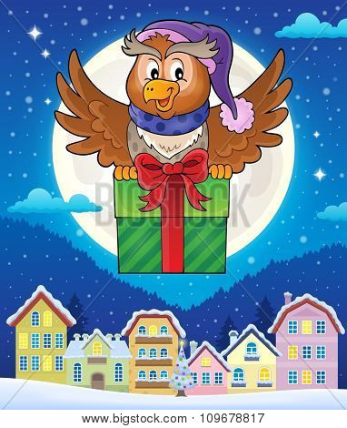 Owl with gift theme image 4 - eps10 vector illustration.
