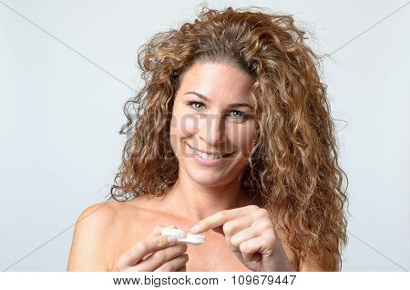 Woman Taking Her Contact Lenses