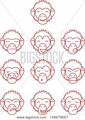 Contour monkey face expressions