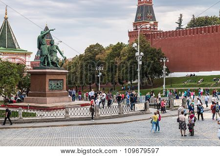 Tourists And Townspeople Have Cathedral On The Red Square