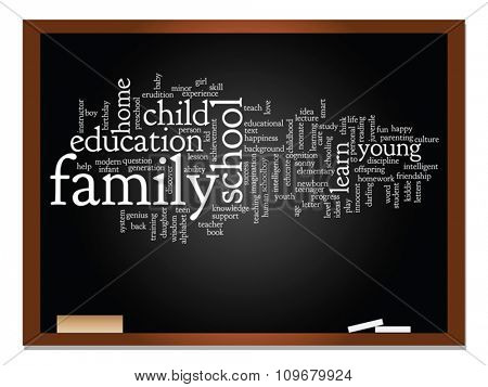 Vector concept or conceptual education abstract word cloud, blackboard and chalk background