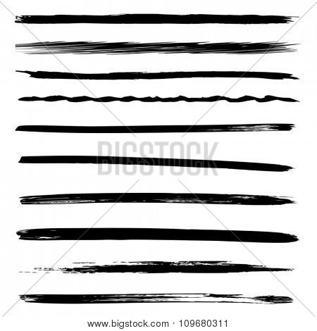 Vector large collection or set of artistic black paint hand made creative brush strokes isolated on white background