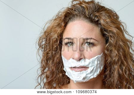 Woman With Foam On Her Face