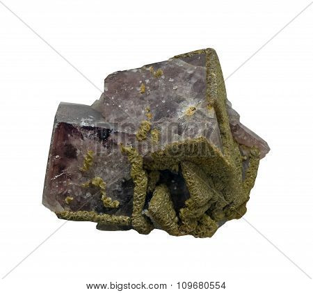 Mineral Fluorite On A White Background, Isolated
