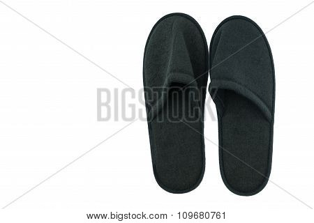 Pair Of Black  Indoor Slippers Isolate Background
