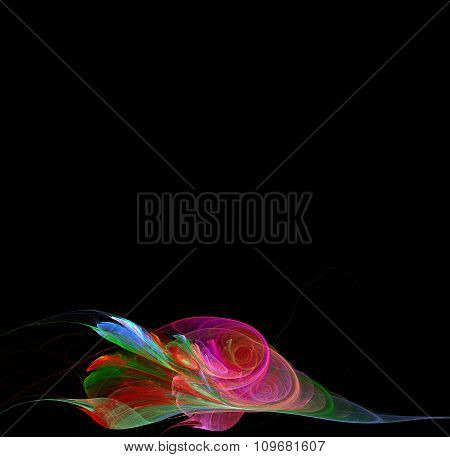 Abstract Fractal Background With Flower Or Branch Texture