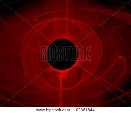 Black Hole In Red Space - Abstract Fractal Background