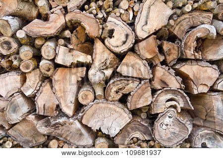 Old weathered woodpile