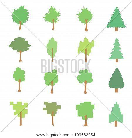 Set Of Stylized Flat Tree Icons, Vector Illustration, Isolated On White Background
