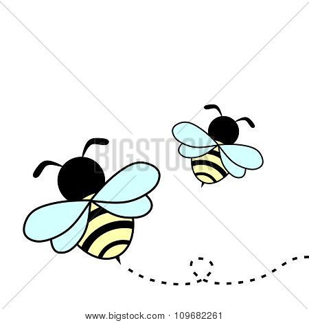 Vector Cartoon honey bee