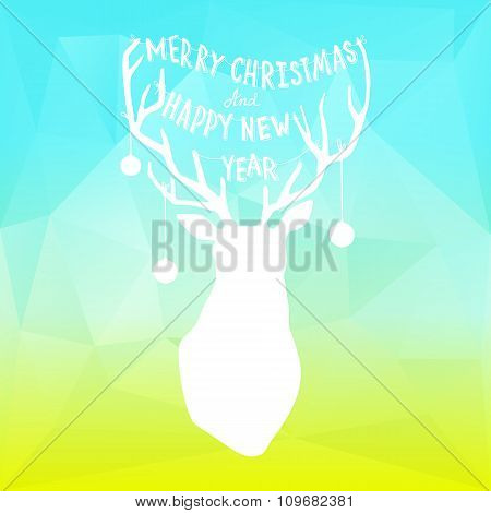 Square New Year design with deer