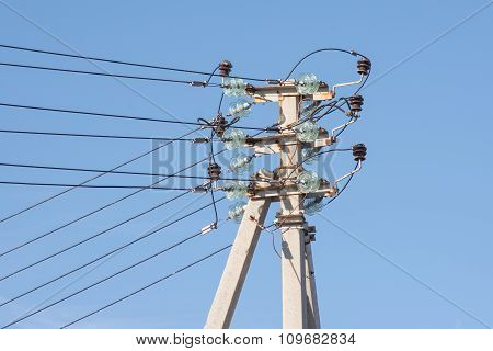 Pillar Power Line Installed Thereon Isolated Wires