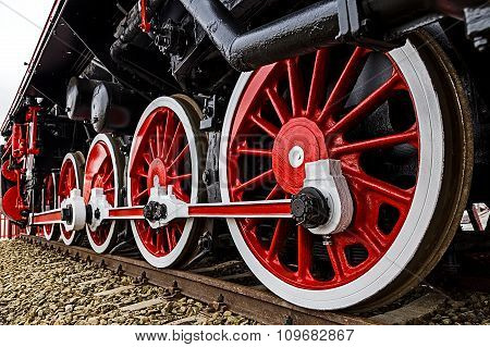 Detail And Close Up Of Huge Wheels At One Old German Steam Locomotive 2