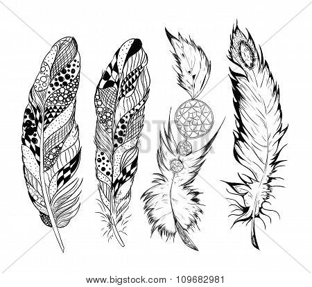 Stylized vector feathers