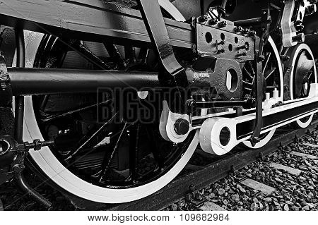 Black And White Detail And Close Up Of Huge Wheels At One Old Steam Locomotive 3