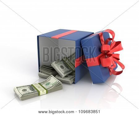 Open Box Gift Box With Dollar Bills On A White Background.