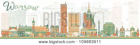 Abstract Warsaw skyline with color buildings. Vector illustration. Business travel and tourism concept with modern buildings. Image for presentation, banner, placard and web site.