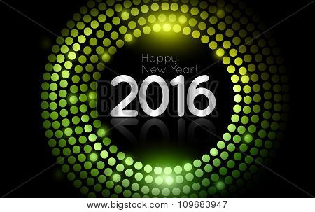 Vector - Happy New Year 2016 - Gold Disco Lights Frame