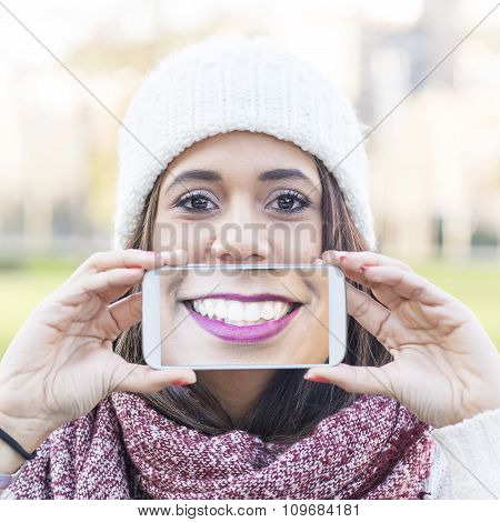 Screen Will Smile View The Phone, Selfie Portrait Happiness Woman.
