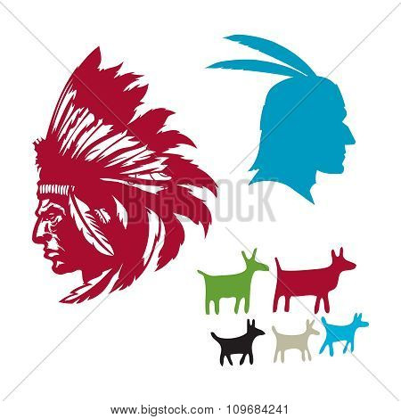Vector Indian Chief Head Silhouette