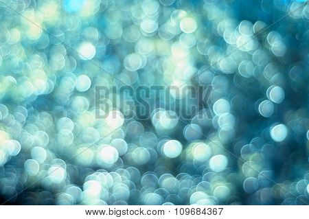 Blueish Background With Abstract De-focus Bokeh Effect