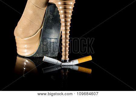 Woman Break Cigarette