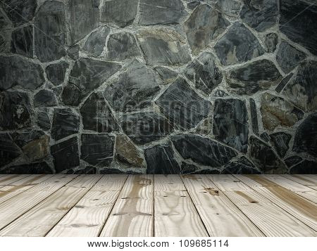 Stone wall and Wooden floor