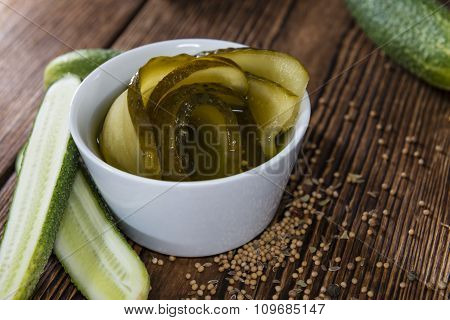 Portion Of Sliced And Pickled Cucumbers