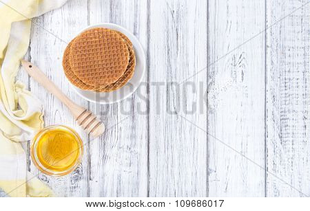 Crunchy Waffles With Honey