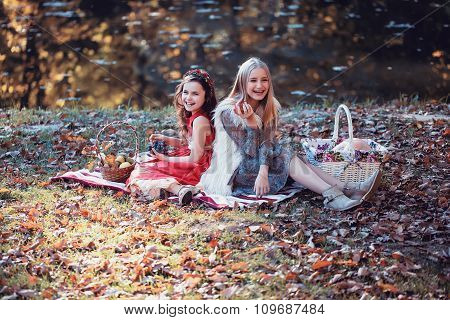 Laughing Girls On Picnic