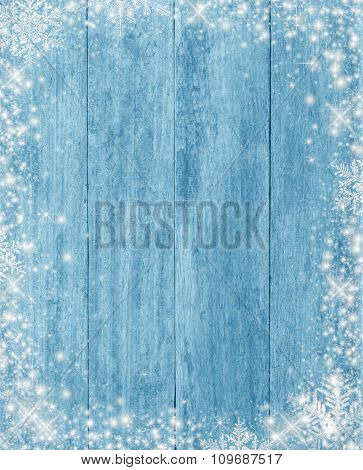 Frozen Wood Texture With Snow Christmas Background, Made With Filter Color