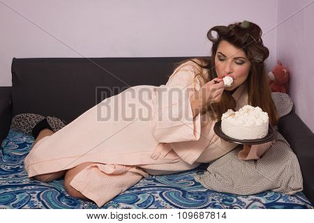 Overweight Woman Eating Sweet Cake