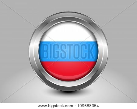Russia Variant Flag. Metal Round Icon