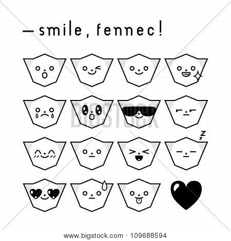 Set Of Fennec Fox Emoticons In Black And White
