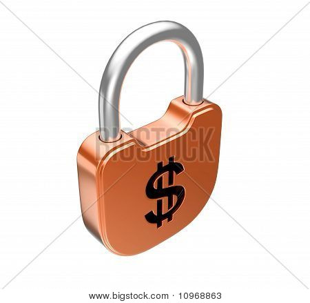 Locked Padlock - Dollar Currency Concept