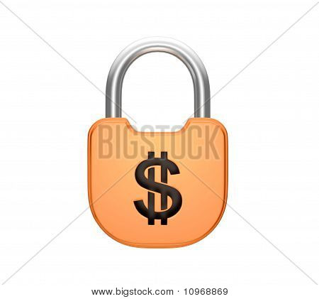 Locked Padlock Us Dollar Currency Concept