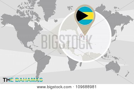 World Map With Magnified The Bahamas