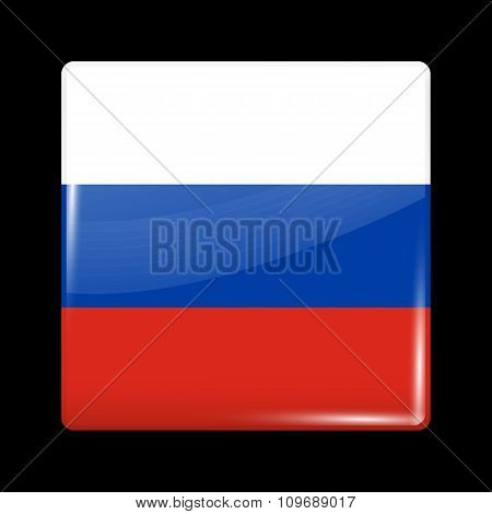 Flag Of Russia. Glassy Icon Square Shape