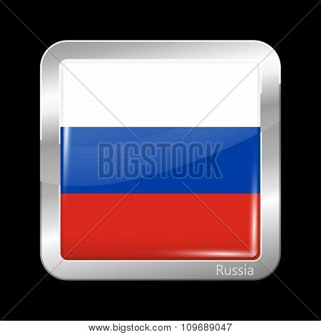 Flag Of Russia. Metallic Icon Square Shape