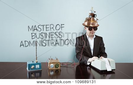 MBA concept with vintage businessman and calculator