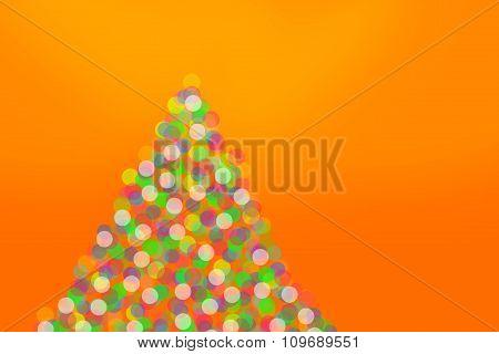 Christmas Tree Lights On Orange Background