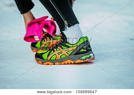 closeup feet running athletes