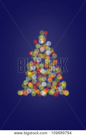Christmas Tree Lights On Blue Background