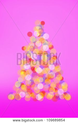 Christmas Tree Lights On Pink Background