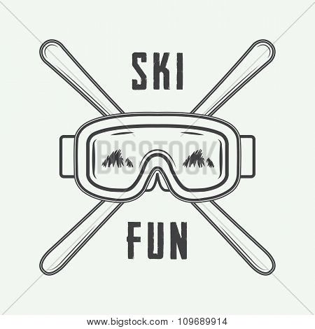 Vintage Ski Or Winter Sports Logo, Emblem, Badge, Label Or Watermark With Mask In Retro Style.