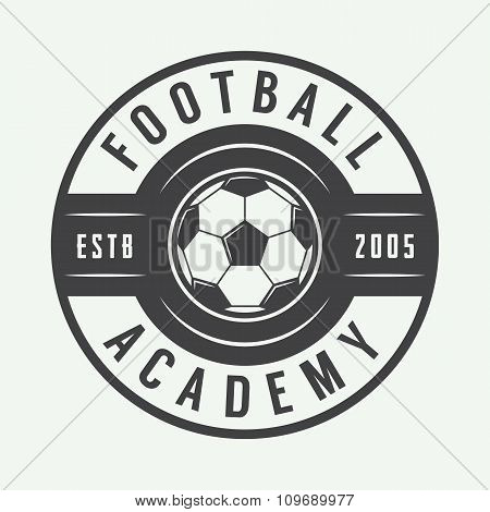 Vintage Soccer Or Football Logo, Emblem, Badge. Vector Illustration